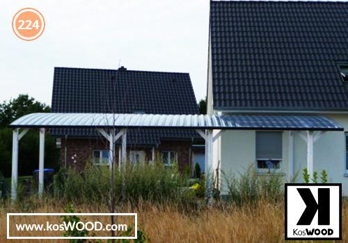 Wiata garażowa  PRAGA wolnostojąca (na wymiar), kolor GORI - biały, Fastlock uni - przezroczysty, dach-łuk