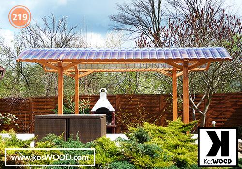 Wiata garażowa PRAGA wolnostojąca (na wymiar), TM 1805, Fastlock uni - przezroczysty, dach-łuk