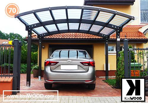 Wiata garażowa PRAGA wolnostojąca (wym.standard.), TM 1836, Fastlock uni - przezroczysty, dach-łuk