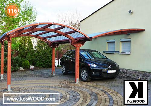 Wiata garażowa  PRAGA dwustanowiskowa, TM 1810, Fastlock uni - przezroczysty, dach-łuk