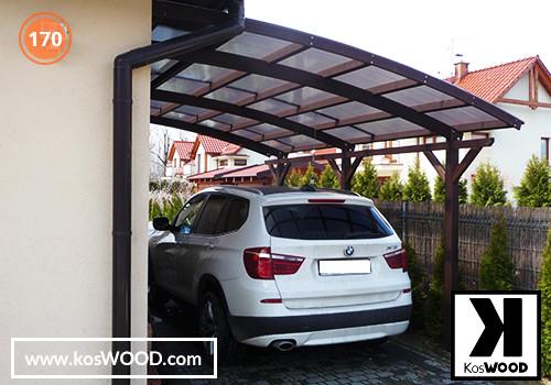 Wiata garażowa  ROMA przyścienna (na wymiar), TM 1812, Kmorowy 10mm - przezroczysty, dach-łuk