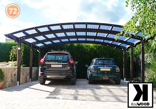 Wiata garażowa PRAGA wolnostojąca (na wymiar), TM 1830, Fastlock uni - przezroczysty, dach-łuk