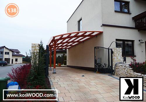 Wiata garażowa  PRAGA przyścienna (na wymiar), TM 1814, Fastlock uni - biały , dach-łuk
