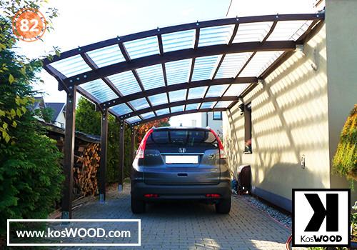 Wiata garażowa PRAGA przyścienna (na wymiar), TM 1830, Fastlock uni - przezroczysty, dach-łuk