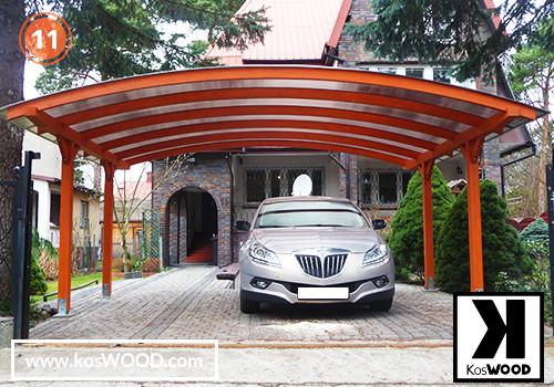 Wiata garażowa CORSA wolnstojąca (na wymiar),TM 1814, Komorowy 10mm - przezroczysty, dach-łuk