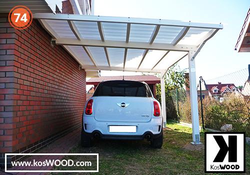 Wiata garażowa PRAGA przyścienna (na wymiar), kolor GORI -biały, Fastlock uni - przezroczysty, dach-prosty