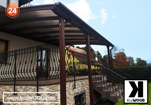 Zadaszenie tarasu CORSA przyścienna(na wymiar), TM 1812, Komorowy 10mm-przezroczysty, dach-łuk