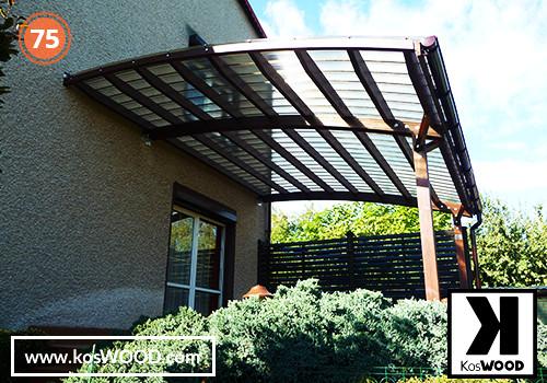 Zadaszenie tarasu PRAGA przyścienna (na wymiar), TM 1830, Fastlock uni - przezroczysty, dach-łuk