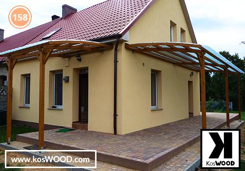 Zadaszenie tarasu 2 x   PRAGA przyścienna (na wymiar), TM 1805, Fastlock uni - przezroczysty, dach-łuk