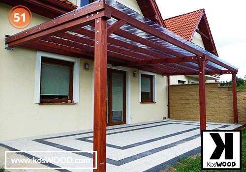 Zadaszenie tarasu PRAGA przyścienna (na wymiar), TM 1809, Fastlock uni - przezroczysty, dach-prosty