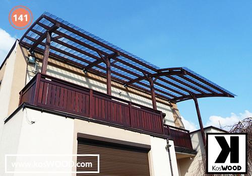 Zadaszenie tarasu PRAGA przyścienna (na wymiar), TM 1812, Fastlock uni - przezroczysty, dach-łuk