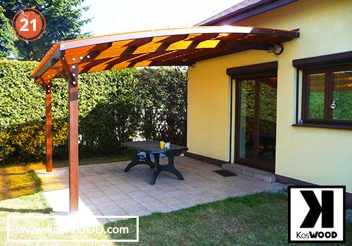 Zadaszenie tarasu PRAGA przyścienna (wym.standard.), TM 1809, Fastlock uni-bursztyn, dach-łuk
