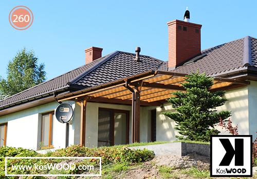Zadaszenie tarasu PRAGA przyścienna (wym.standard),TM 1806,  fastlock - dymny dach- prosty,