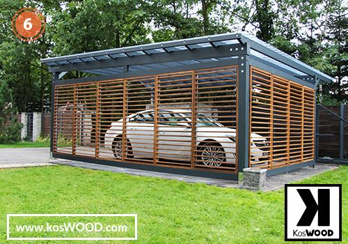 Wiata garażowa PRAGA wolnostojąca (na wymiar), TM 1826, Fastlock uni -przezroczysty, dach - prosty, rolety/żaluzje - TM 1806