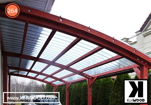 Wiata garażowa PRAGA przyścienna (wym.standard),TM 1816,  fastlock - przezroczysty, dach- łuk