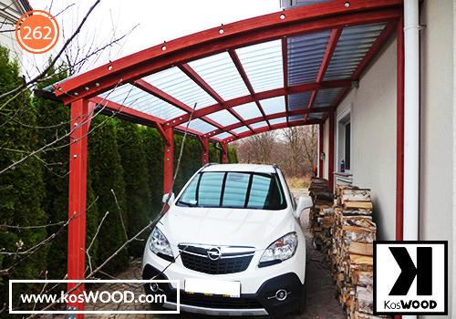 Wiata garażowa PRAGA przycienna (na  wymiar) TM1816, fastlock - przezroczysty,dach- łuk