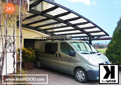 Wiata garażowa PRAGA przycienna (na  wymiar) TM1836, fastlock - biały, dach- łuk