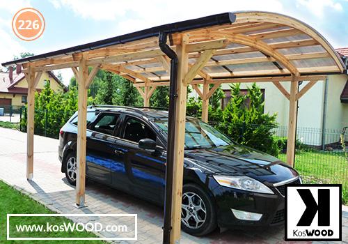 Wiata garażowa  ROMA wolnostojąca (na wymiar), TM 1802, Komorowy 10mm-przeroczysty, dach-łuk