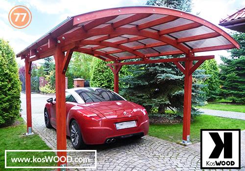 Wiata garażowa ROMA wolnostojąca (wym.standard.), TM 1816, Komorowy 10mm - przezroczysty, dach-łuk