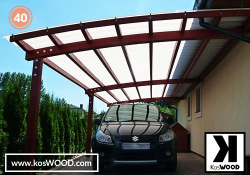 Wiata garażowa PRAGA przyścienna (na wymiar), TM 1810, Fastlock uni - przezroczysty, dach-łuk