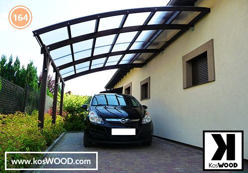 Wiata garażowa  ROMA przyścienna (na wymiar), TM 1836, Komorowy 10mm - przezroczysty, dach-łuk