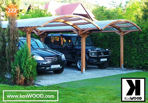 Wiata garażowa  PRAGA dwustanowiskowa, TM 1806, Fastlock uni - przezroczysty, dach-łuk