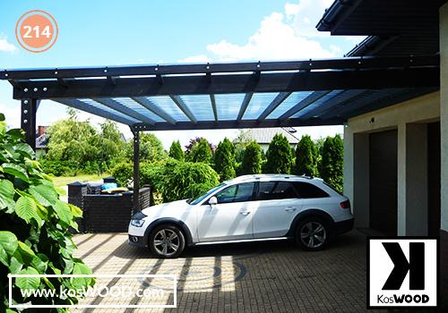 Wiata garażowa  PRAGA przyścienna (na wymiar), TM 1836, Fastlock uni - przezroczysty, dach-prosty