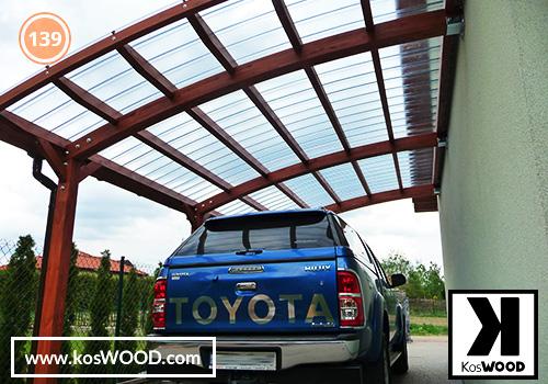 Wiata garażowa  PRAGA przyścienna (na wymiar), TM 1809, Fastlock uni - przezroczysty, dach-łuk