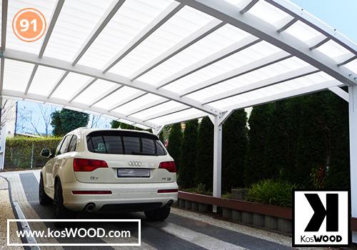 Wiata garażowa  PRAGA przyścienna (na wymiar), kolor GORI - biały, Fastlock uni - biały, dach-łuk