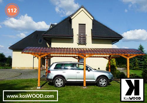 Wiata garażowa  PRAGA wolnostojąca (na wymiar), TM 1815, Fastlock uni - przezroczysty, dach-łuk