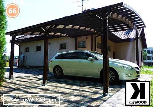Wiata garażowa PRAGA przyścienna (na wymiar), TM 1818, Fastlock uni - dymiony, dach-łuk