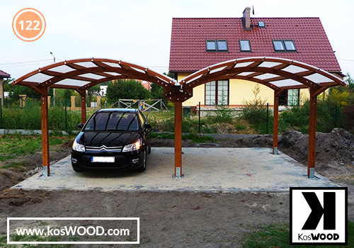 Wiata garażowa  PRAGA dwustanowiskowa, TM 1815, Fastlock uni - biały, dach-łuk