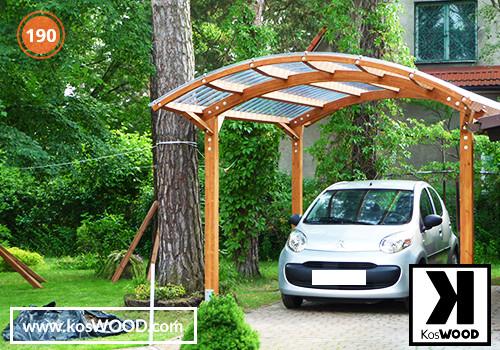 Wiata garażowa  PRAGA wolnostojąca (wym.standard.), TM 1805, Fastlock uni - przezroczysty, dach-łuk