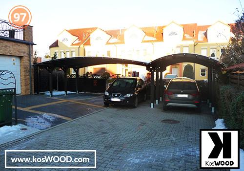 Wiata garażowa  PRAGA dwustanowiskowa , TM 1836, Fastlock uni - przezroczysty, dach-łuk