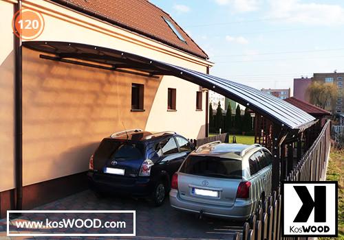 Wiata garażowa  PRAGA przyścienna (na wymiar), TM 1818, Komorowy 10mm - przezroczysty, dach-łuk