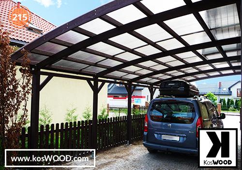 Wiata garażowa  ROMA przyścienna (na wymiar), TM 1830,Komorowy 10mm-opal, dach-łuk