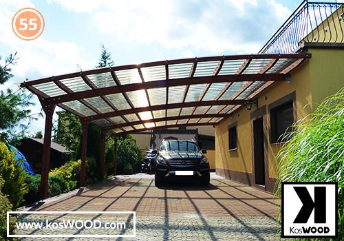 Wiata garażowa PRAGA przyścienna (na wymiar), TM 1806, Fastlock uni - przezroczysty, dach-łuk