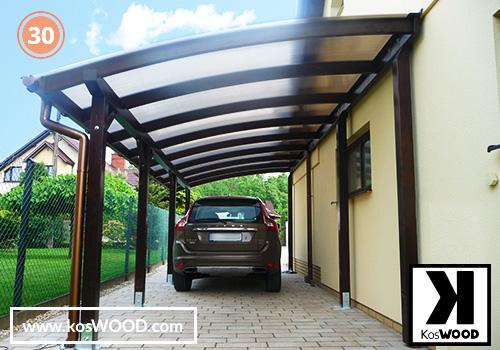 Wiata garażowa CORSA przyścienna(na wymiar), TM 1830, Komorowy 10mm-przezroczysty, dach-łuk