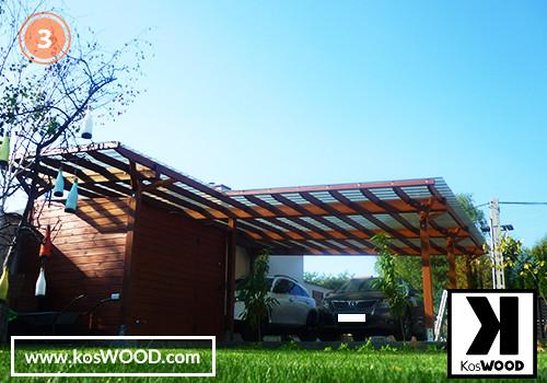 Wiata garażowa PRAGA wolnostojąca (na wymiar), TM 1805, Fastlock uni - dymny, dach - prosty