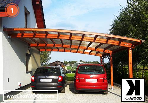 Wiata garażowa PRAGA przyścienna (na wymiar), TM 1815, Fastlock uni- dymny, dach - łuk