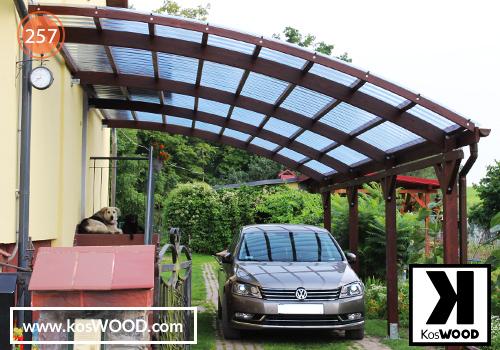 Wiata garażowa ROMA przyścienna (na wymiar) TM1812, fastlock - przezroczysty,dach- łuk