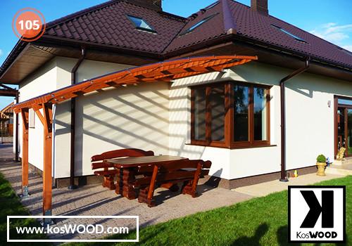 Zadaszenie tarasu PRAGA przyścienna (wym.standard.), TM 1815, Fastlock uni - przezroczysty, dach-łuk