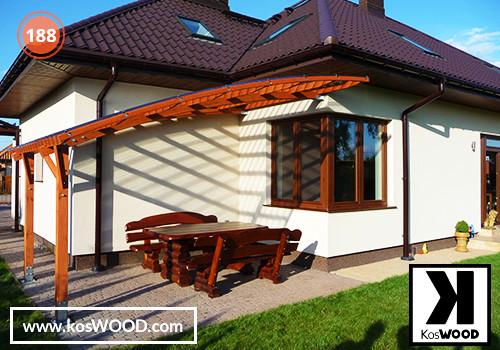 Zadaszenie tarasu PRAGA przyścienna (na wymiar), TM 1814, Fastlock uni - przezroczysty, dach-łuk