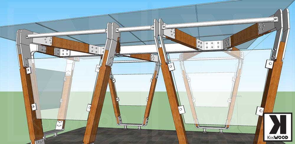 Projekt nowoczesnej wiaty garażowej